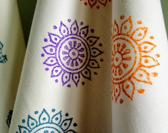 indian daisy multi - tea towel - organic cotton