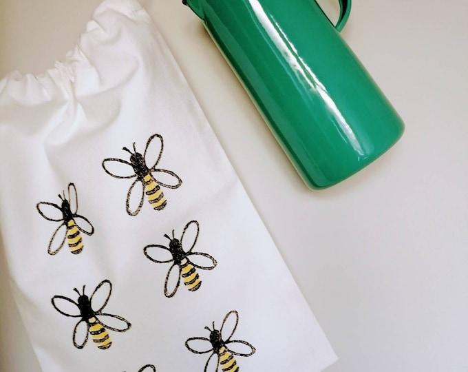 bread bag honey bee organic cotton