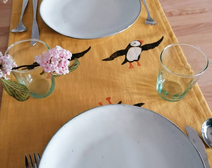 table runner mustard linen puffins