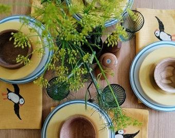 linen napkin puffin mustard