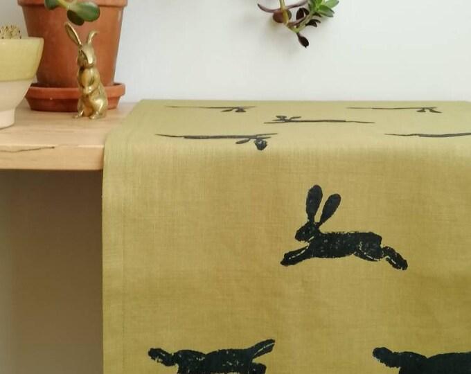 table runner hares on linen