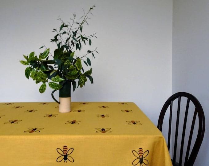 honey bee linen tablecloth