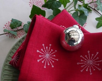 linen napkin ivy flower red