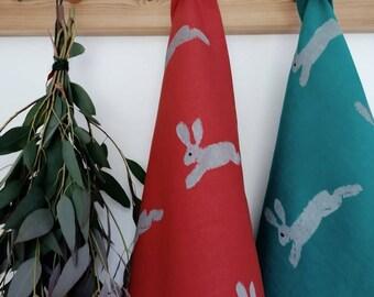 hare linen tea towel