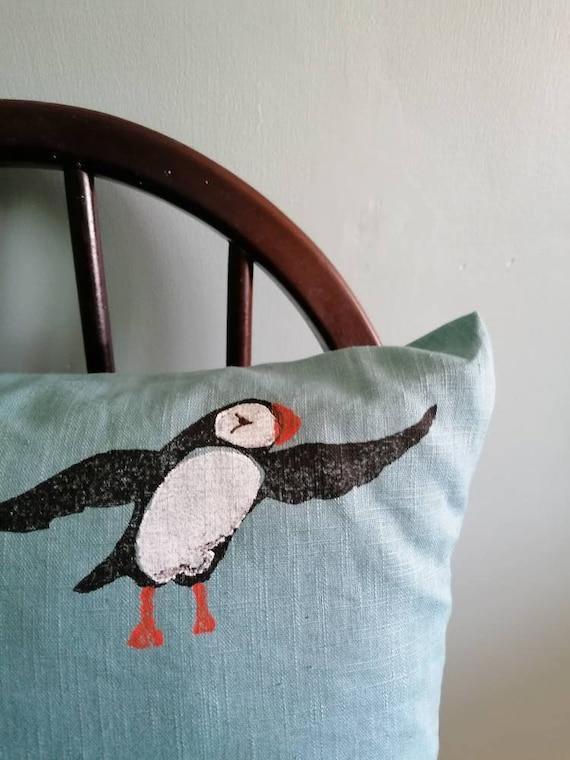puffin cushion light teal linen