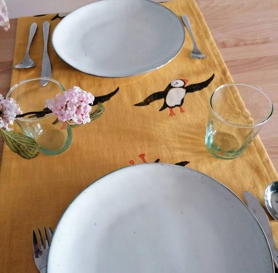 table runner mustard linen puffins