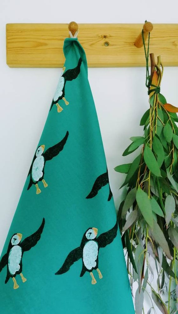 puffin linen teatowel turquoise