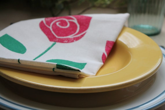Napkins Rose Set of Six