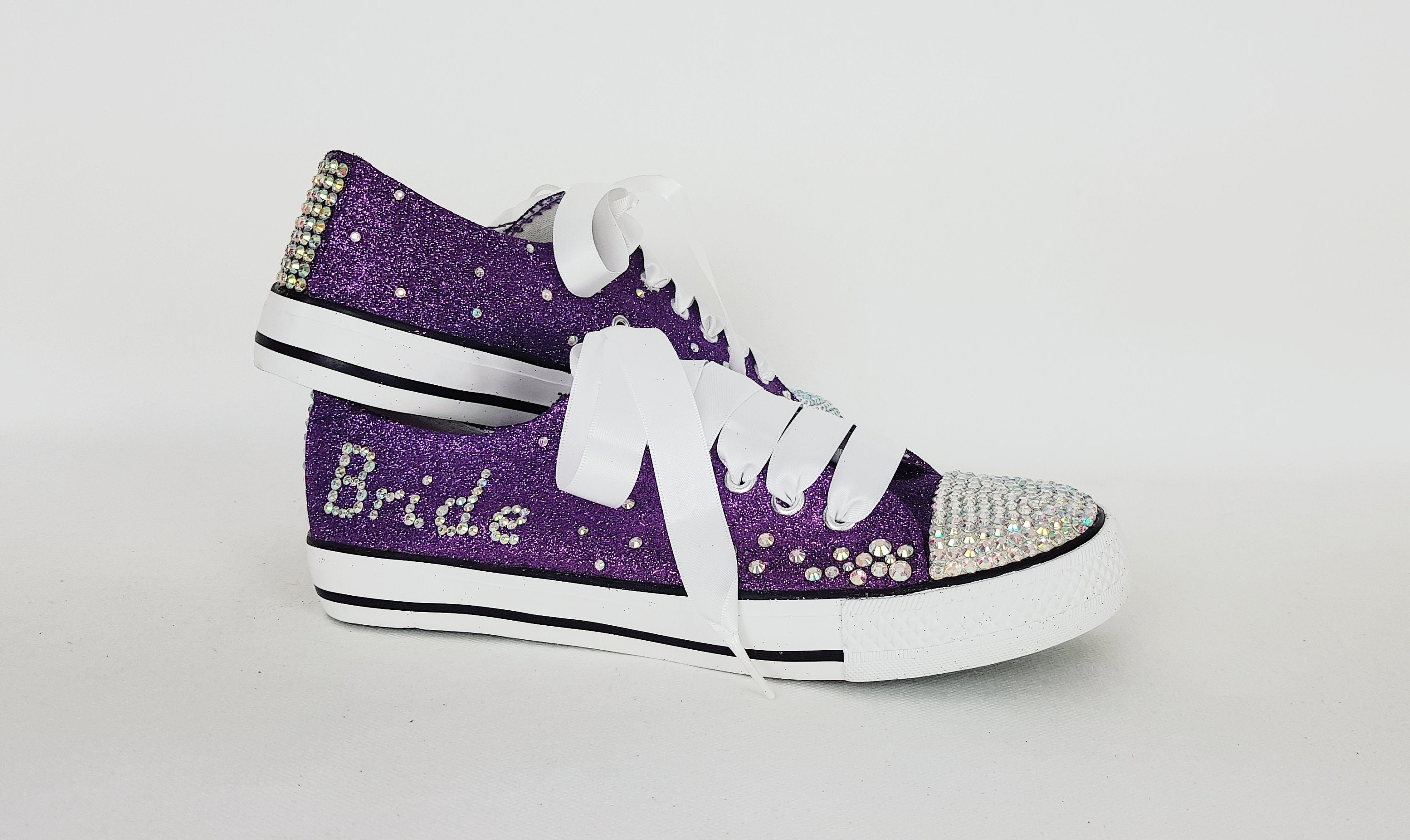 63e909ab060b Purple glitter shoes bride sneakers bridal pumps customized