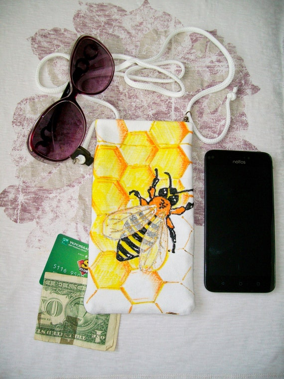 Cell Phone Purse Mini Crossbody Bag Smartphone Wallet Headphone Bag Beautiful Lion Face Colors Style watercolor painting