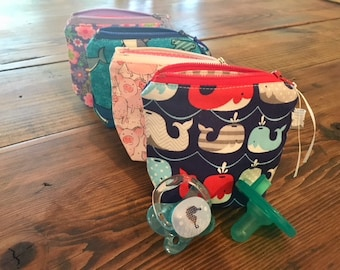 Pacifier Pouch, Pacifier Holder, Pacifier Bag, Binky Bag, Baby Shower Gift, Baby Girl Gift, Baby Boy Gift
