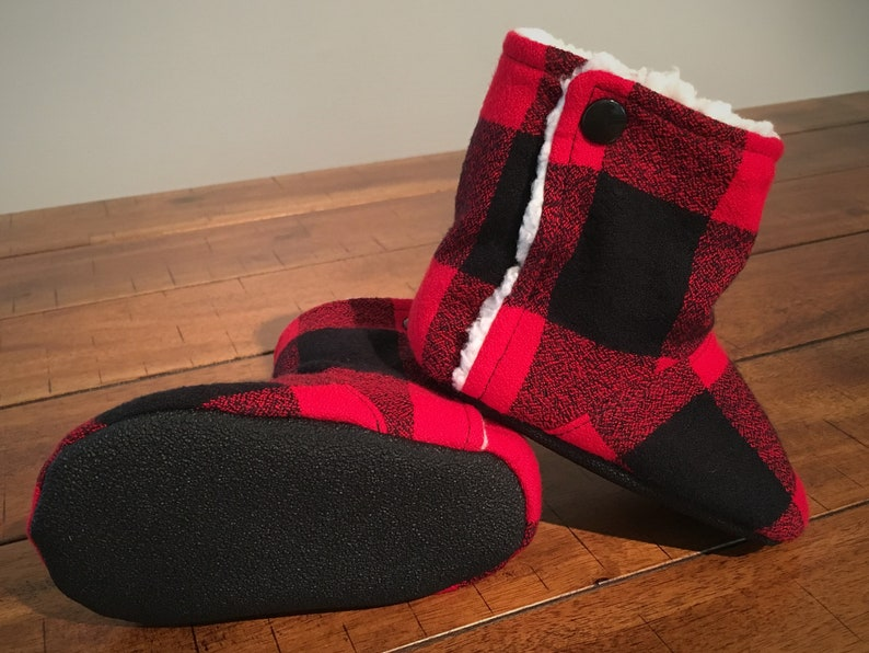 426eeac298592 Flannel Booties for Infants and Toddlers, Red Buffalo Plaid