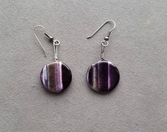 Amethyst Circle Agate Earrings with Sterling Silver -Vintage- Local Artist Creation Selling off Estate Pieces!!!!!!