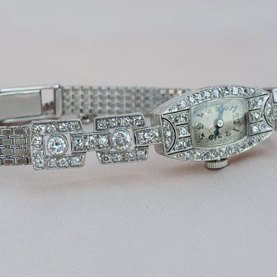 Art Deco Platinum Gold 1.74 Diamond Watch | Art De