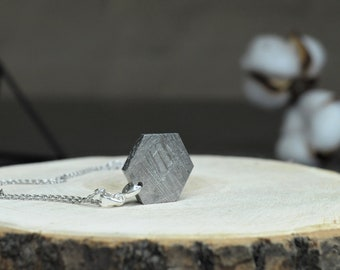 """Necklace """"Whole Hexagon"""" made of solid meteorite Muonionalusta"""