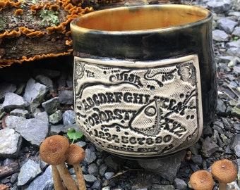 Ouija board coffee mug Halloween witchy black orange ooak pottery handmande