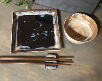 Black blue splatter glaze clay sushi set small serving tray appetizer gift rustic simple cheese and crackers gift handmade pottery