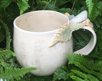 Crystal mug green fern leaves white tumbled forest agate and calcite handmade pottery gift unique witchy metaphysical coffee tea witch