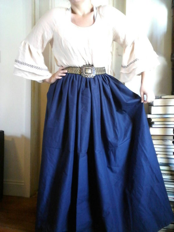 Navy blue renaissance skirt, dark blue dress, victorian costume, medieval  clothing, plus size, pirate, gypsy, overskirt, bar wench,civil war