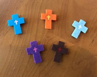 Perler Bead Cross Magnets