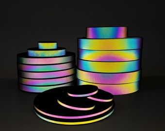Rainbow Reflective  Grosgrain Iridescent tape in various widths, Sew On, High Vis, visibility material, sold by the meter