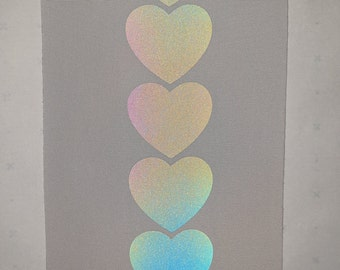 Reflective Rainbow Iridescent Hearts Heat Transfer Film, High Vis, Visibility material, Sold by the Metre / Yard