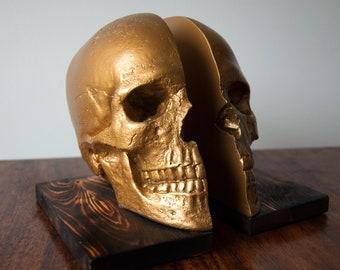 Bookends / Book ends / Skull Decor / Skull Ornament / Book Storage / Human Skull / Skull Bookends / Book Lover Gift