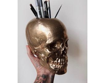 Skull Pen Pot - Skull Make up Brush Holder - Skull Decor - Skull Pen Holder - Skull Holder - Brush Holder