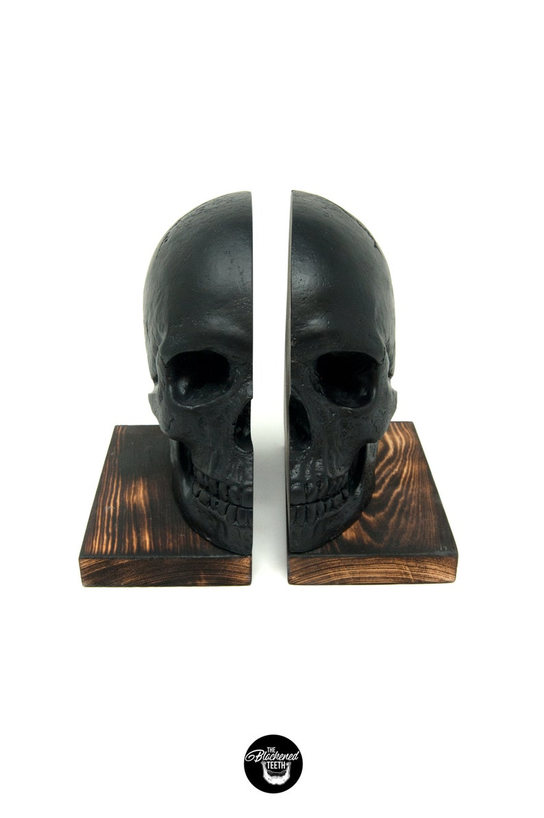 Skull Wooden Bookends  Skull Decor Matt Black