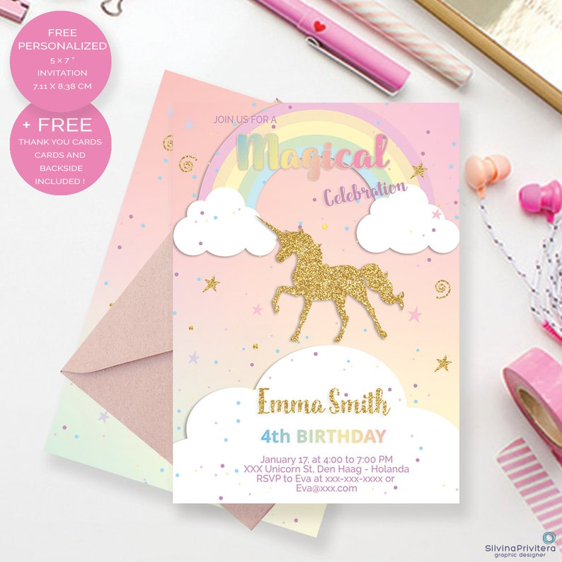 Unicorn Birthday Invitation Magical Rainbow