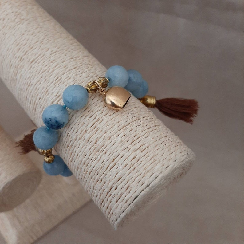 Bracciale estivo da donna. con charms  in ottone e nappe in cotone Bracciale in sfere di  Quarzo Azzurro  0,12mm