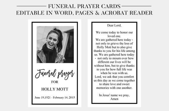 Funeral Prayer Cards Printable Memorial