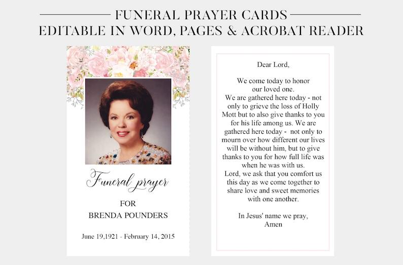 Funeral Prayer Cards Printable Funeral Cards Memorial Etsy