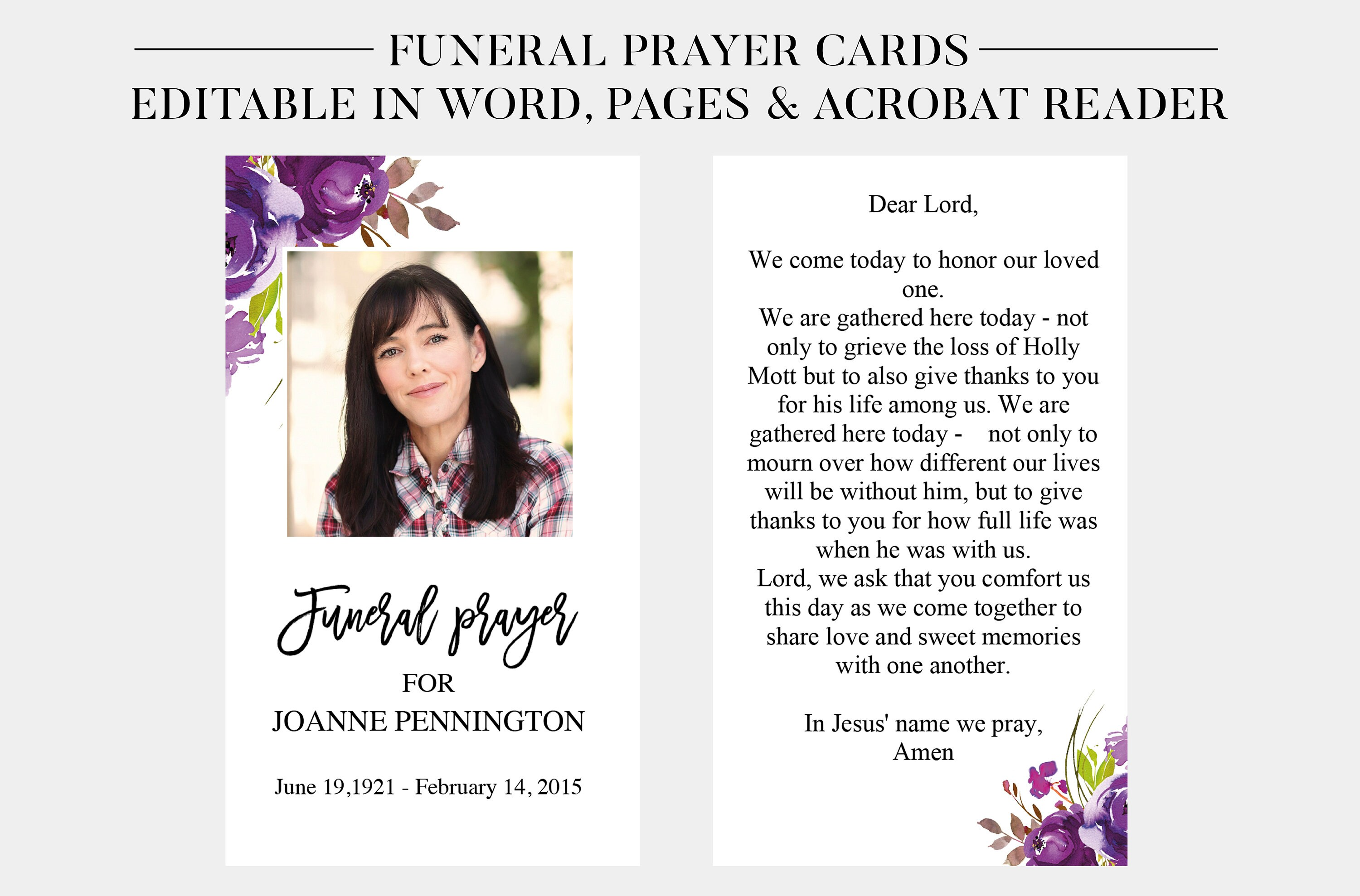 Funeral Prayer Cards  Printable Funeral Cards  Memorial Cards  Funeral  Religious Cards  Memorial Prayer Card Template  Word Pages PDF With Memorial Card Template Word