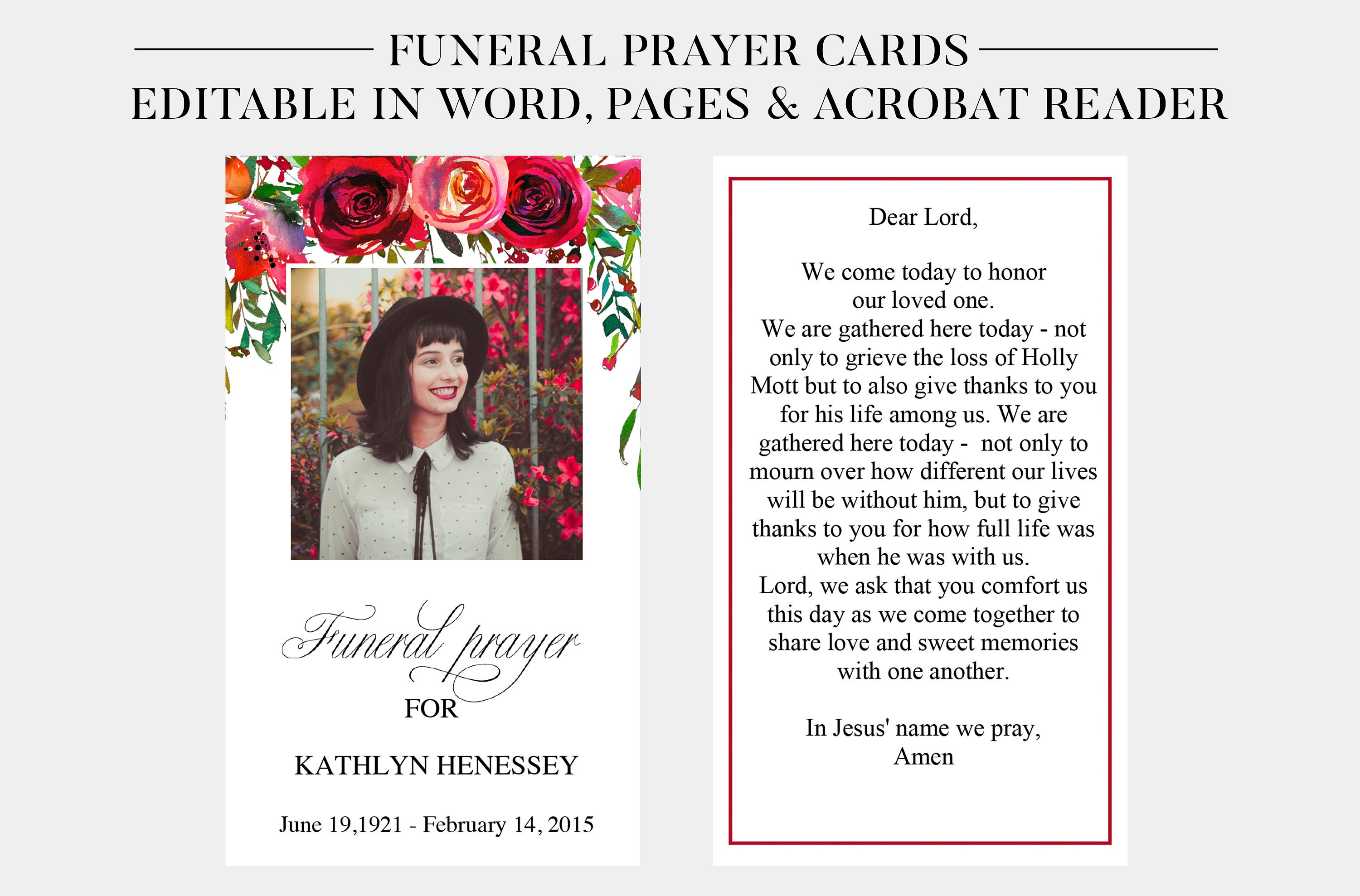 Funeral Prayer Cards  Printable Funeral Cards  Memorial Cards  Funeral  Religious Cards  Memorial Prayer Card Template  Word Pages PDF Regarding Memorial Card Template Word