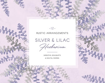 Silver greenery clip art, lilac & grey rustic wedding wreaths, bouquets, digital papers
