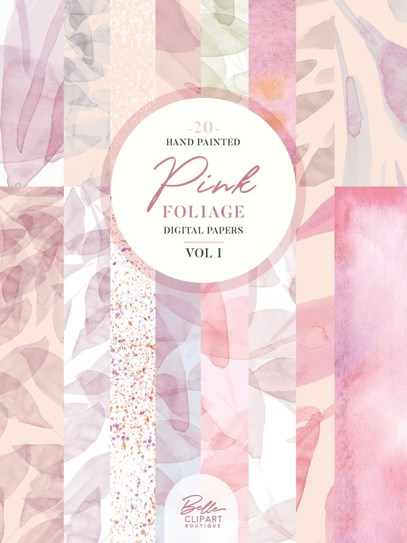 20 Botanical backdrops hand painted leaves pattern Abstract Pink foliage watercolor Digital Paper