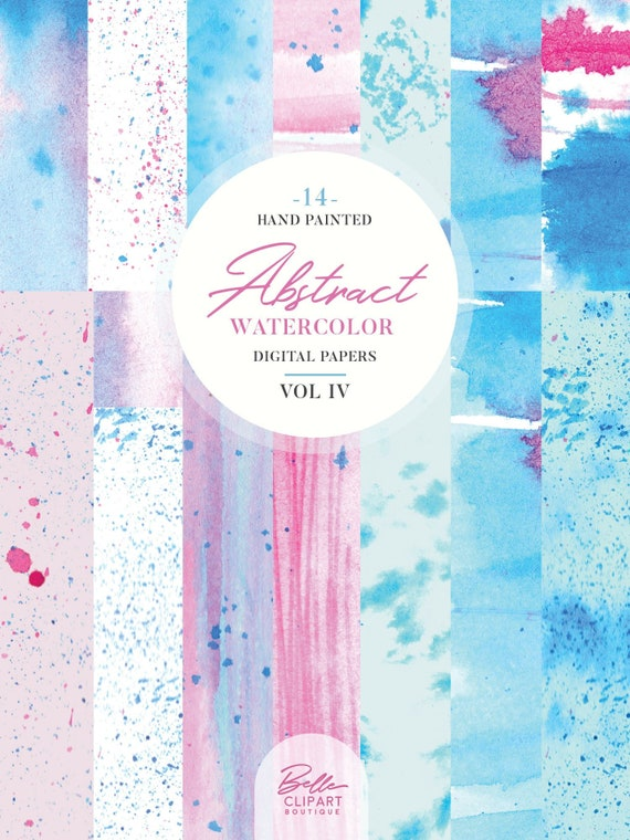 Abstract Watercolor Digital Papers Vol Iv 14 Hand Painted Etsy