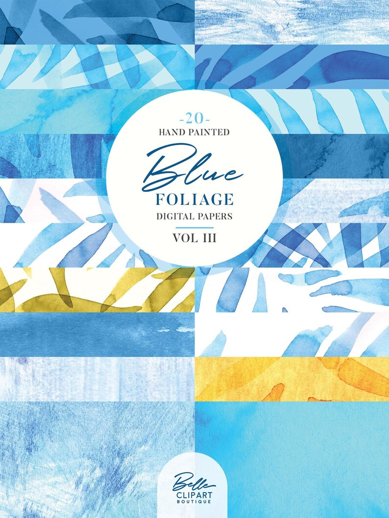 VOL 3-20 watercolor backdrops hand painted leaves pattern backgrounds Abstract Blue foliage Digital Paper set