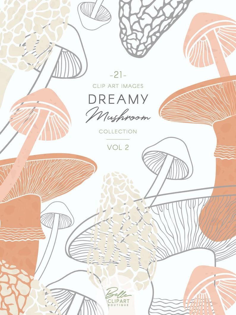Mushroom Clip Art Botanical Line Drawings Colorful Mushrooms Woodland Illustration