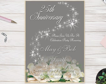 Silver anniversary invite, silver invitation, 25th wedding anniversary invitation, diy invitations, custom invitations, 25 year anniversary