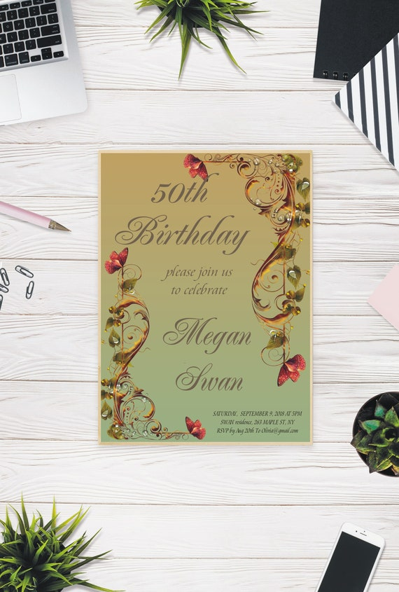 Personalised 50th Birthday Invitation Turning 50 Invite