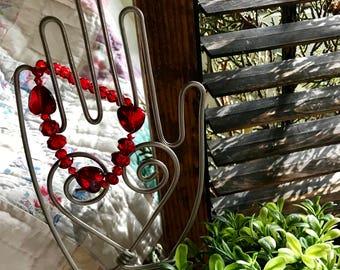 Valentine Red Hand Beaded Bracelet Stackers