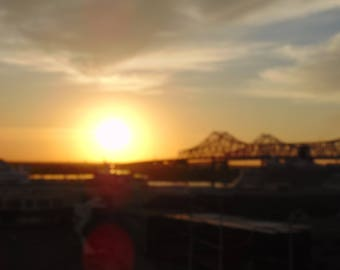 Sunset over the Mississippi River in New Orleans