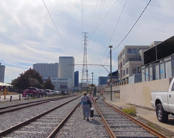 Trolley Tracks behind the levy in New Orleans