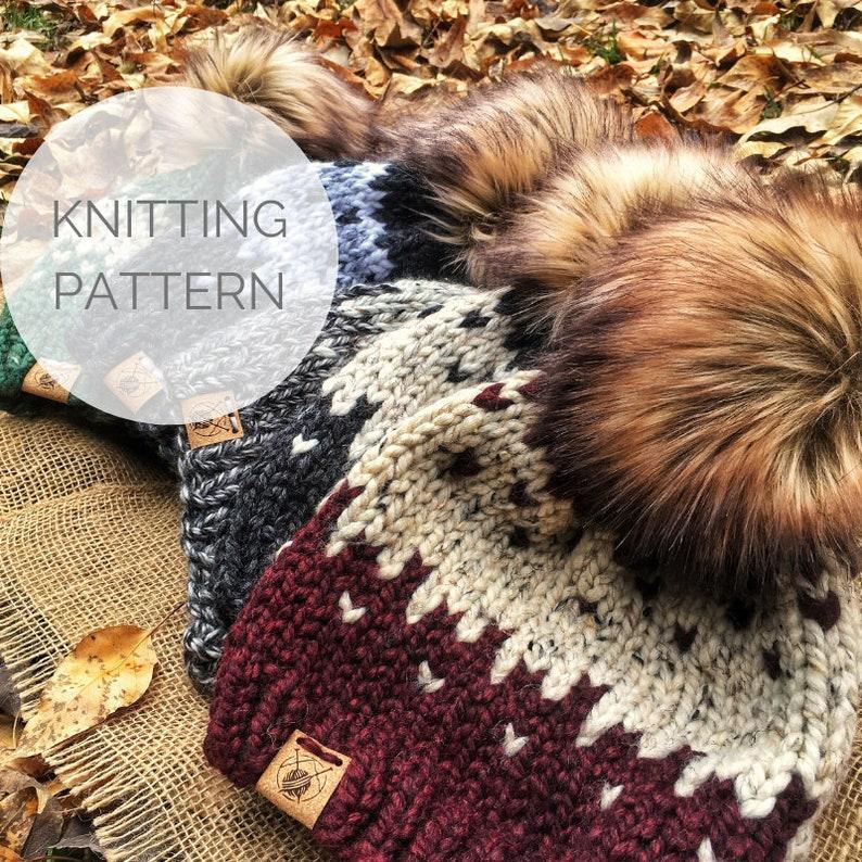 KNITTING PATTERN  Beginner Fair Isle Knit Hat Pattern  image 0