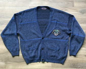 26ea033ca5bd1 Vintage 80s 90s Impact Multi-Color Cardigan with Leather