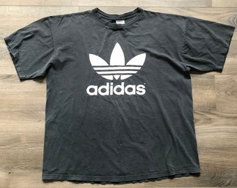 2774a4fdd Vintage 80s Adidas Gray Huge White Trefoil Logo T-Shirt | Made in USA| Men's  X-Large