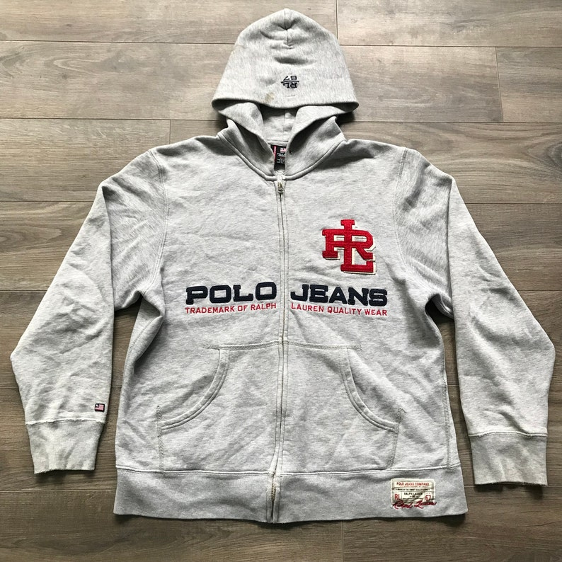 4195a5fa1 Vintage 90s Polo Jeans Co. Ralph Lauren Gray Full-Zip Hoodie