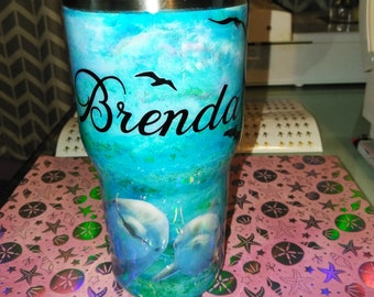 Custom Tumbler with Dolphins and your name